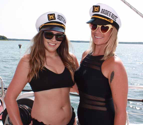 Brides Mate and bride during bachelorette boat party Navy Beach Montauk