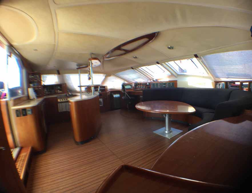 East Hampton Valkyrie sailboat catamaran cabin interior