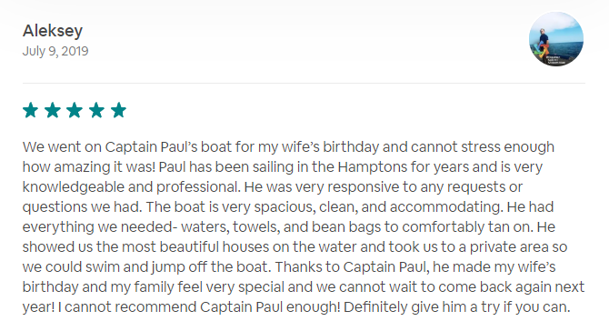 5 star review of Valkyrie Sailing Charters from Aleksey